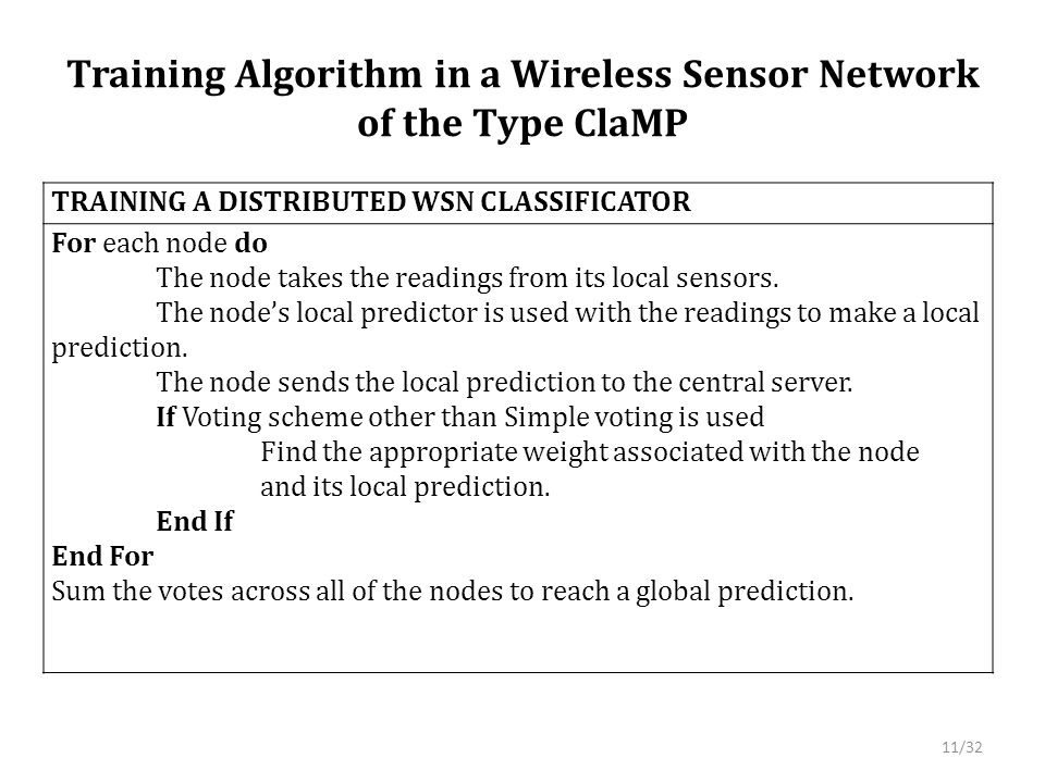 Training Algorithm in a Wireless Sensor Network of the Type ClaMP TRAINING A DISTRIBUTED WSN CLASSIFICATOR For each node do The node takes the readings from its local sensors.