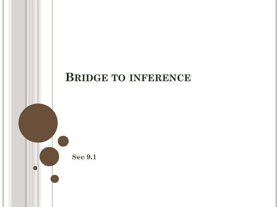 B RIDGE TO INFERENCE Sec 9.1