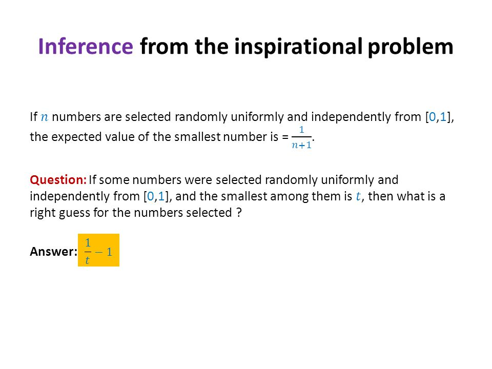 Inference from the inspirational problem