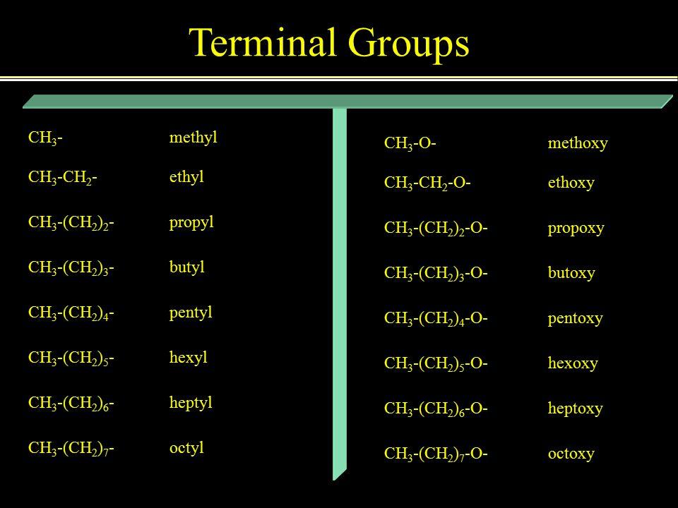 CH 3 - CH 3 -CH 2 - CH 3 -(CH 2 ) 2 - CH 3 -(CH 2 ) 3 - CH 3 -(CH 2 ) 4 - CH 3 -(CH 2 ) 5 - CH 3 -(CH 2 ) 6 - CH 3 -(CH 2 ) 7 - methyl ethyl propyl butyl pentyl hexyl heptyl octyl CH 3 -O- CH 3 -CH 2 -O- CH 3 -(CH 2 ) 2 -O- CH 3 -(CH 2 ) 3 -O- CH 3 -(CH 2 ) 4 -O- CH 3 -(CH 2 ) 5 -O- CH 3 -(CH 2 ) 6 -O- CH 3 -(CH 2 ) 7 -O- methoxy ethoxy propoxy butoxy pentoxy hexoxy heptoxy octoxy Terminal Groups