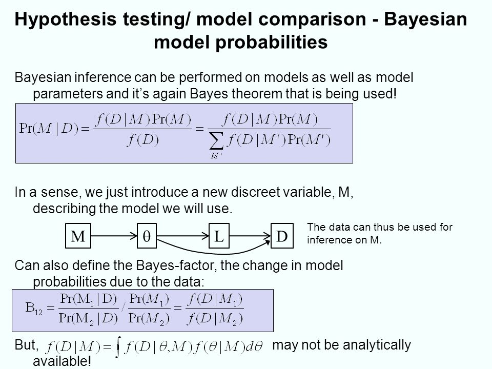 Bayesian model probabilities – dealing with the marginal data density may not be analytically available.