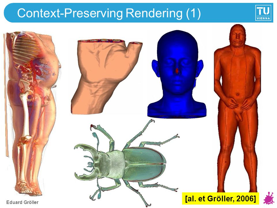Eduard Gröller Context-Preserving Rendering (2) Integrate various focus+context approaches with only few parameters tt ss