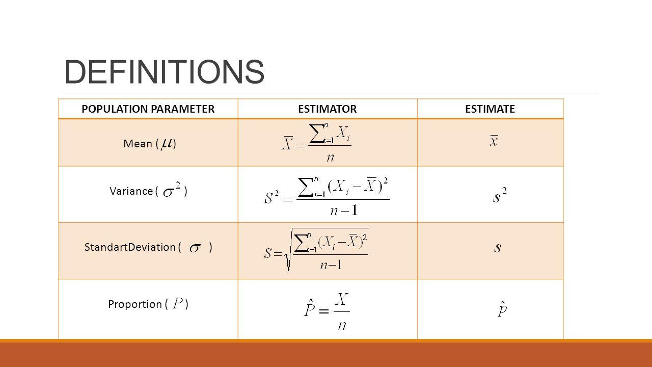 DEFINITIONS POPULATION PARAMETERESTIMATORESTIMATE Mean ( ) Variance ( ) StandartDeviation ( ) Proportion ( )