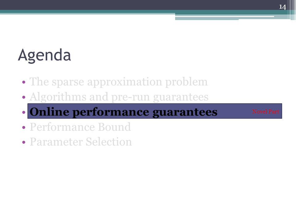 Agenda The sparse approximation problem Algorithms and pre-run guarantees Online performance guarantees Performance Bound Parameter Selection Novel Part 14