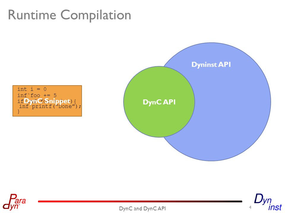 int i = 0 inf`foo += 5 Runtime Compilation 4 DynC and DynC API if(inf`foo > i++){ } inf`printf( Done ); DynC Snippet Dyninst API DynC API