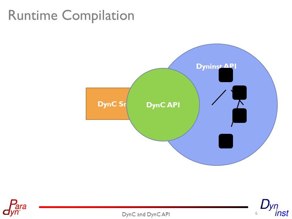 DynC Snippet Runtime Compilation 6 DynC and DynC API Dyninst API DynC API
