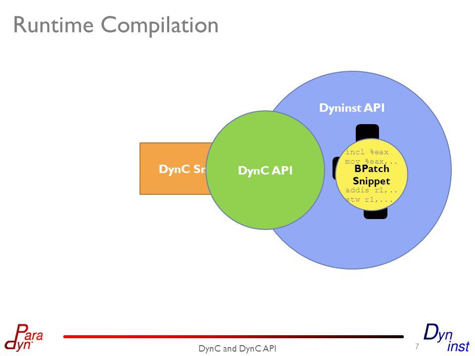 DynC Snippet Runtime Compilation 7 DynC and DynC API Dyninst API DynC API incl %eax mov %eax,..