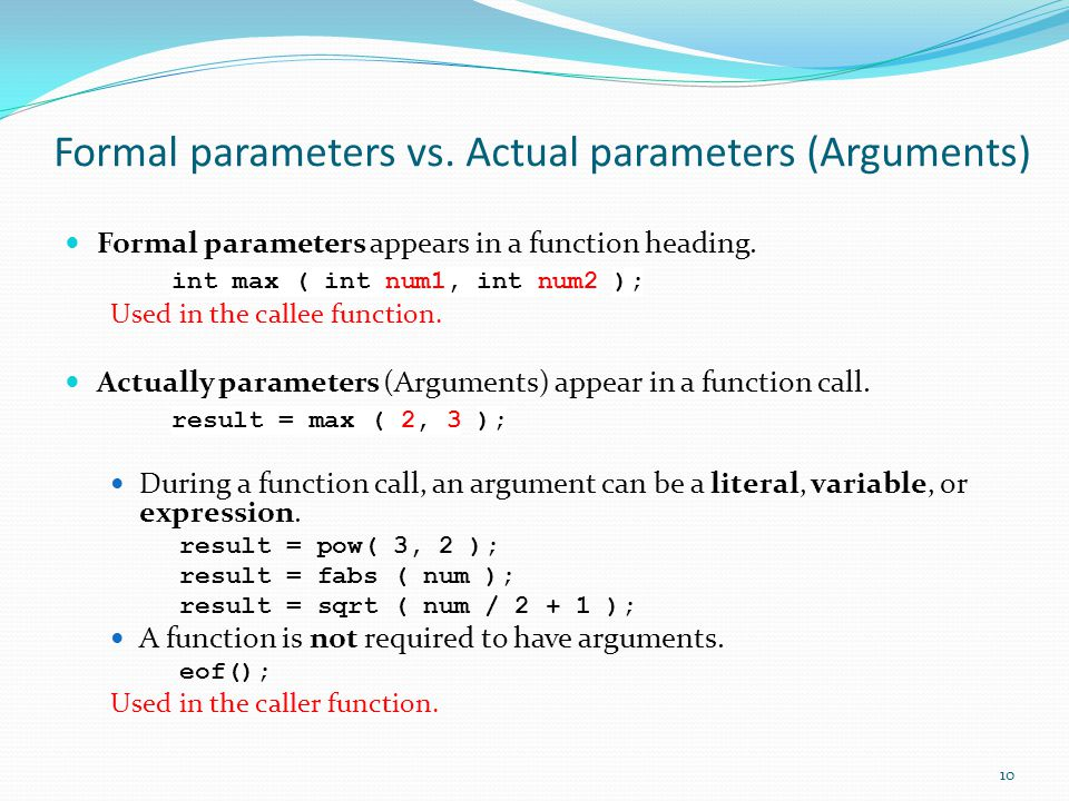 Formal parameters vs.