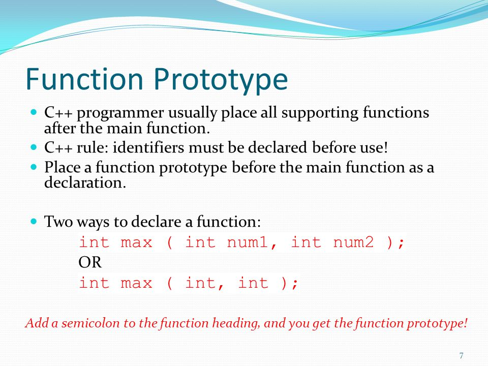 Summary Function definition Function prototype Void functions vs.
