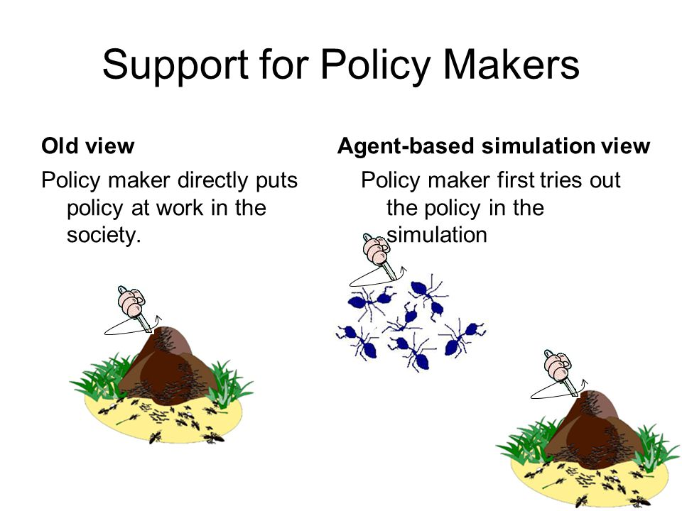 Support for Policy Makers Old view Policy maker directly puts policy at work in the society.