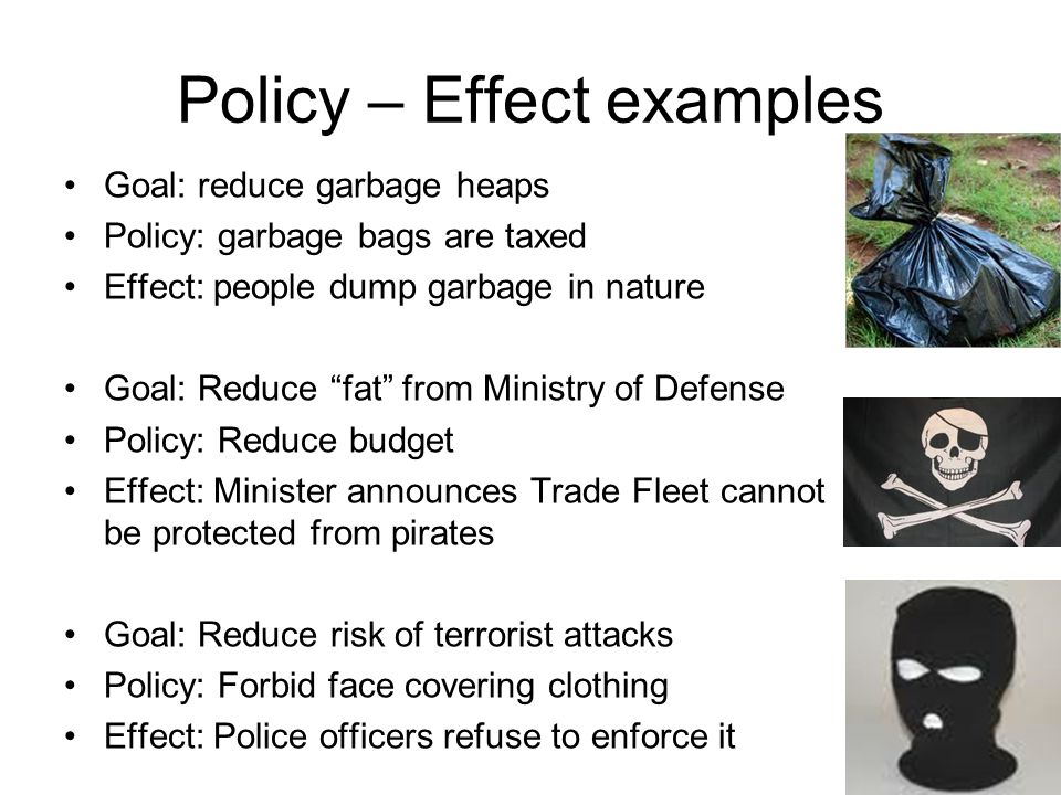 Policy – Effect examples Goal: reduce garbage heaps Policy: garbage bags are taxed Effect: people dump garbage in nature Goal: Reduce fat from Ministry of Defense Policy: Reduce budget Effect: Minister announces Trade Fleet cannot be protected from pirates Goal: Reduce risk of terrorist attacks Policy: Forbid face covering clothing Effect: Police officers refuse to enforce it