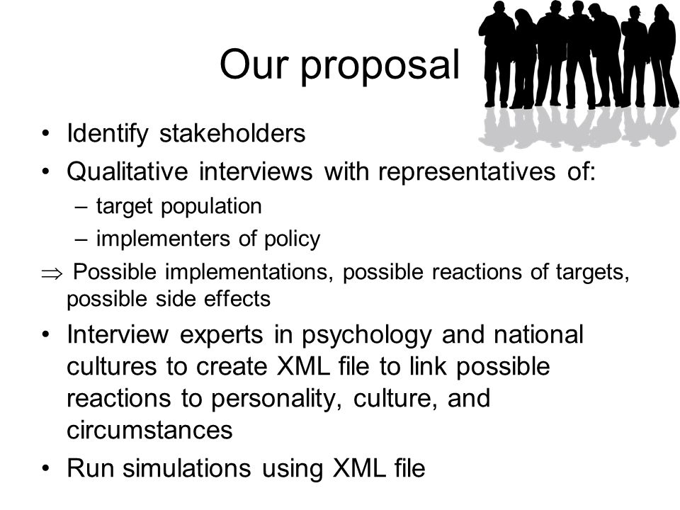 Our proposal Identify stakeholders Qualitative interviews with representatives of: –target population –implementers of policy  Possible implementations, possible reactions of targets, possible side effects Interview experts in psychology and national cultures to create XML file to link possible reactions to personality, culture, and circumstances Run simulations using XML file