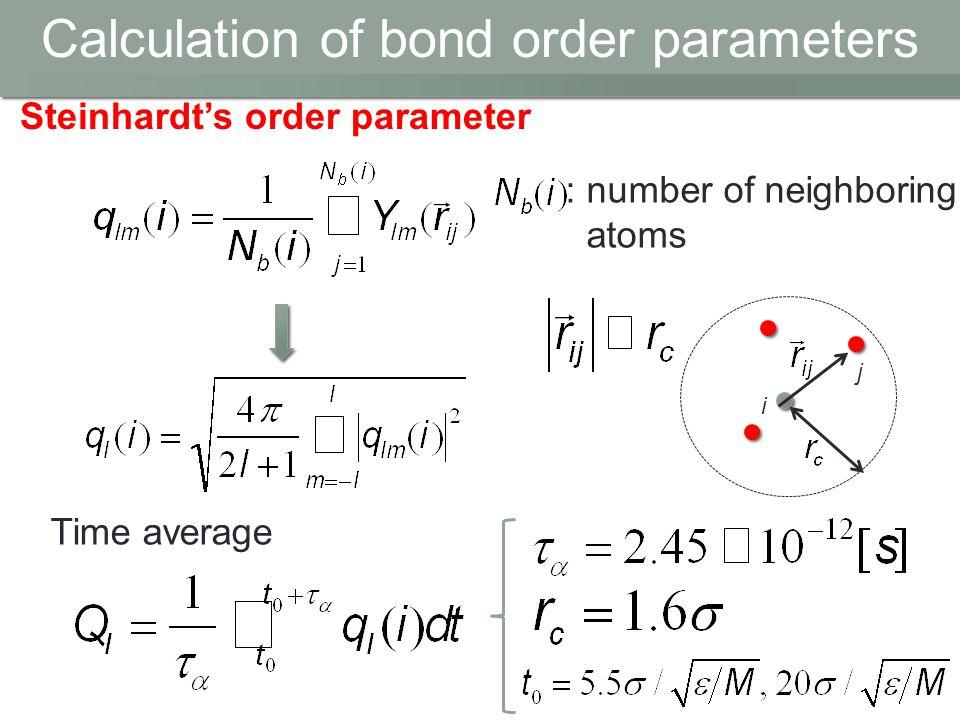 Calculation of bond order parameters Steinhardt's order parameter Time average i j : number of neighboring atoms