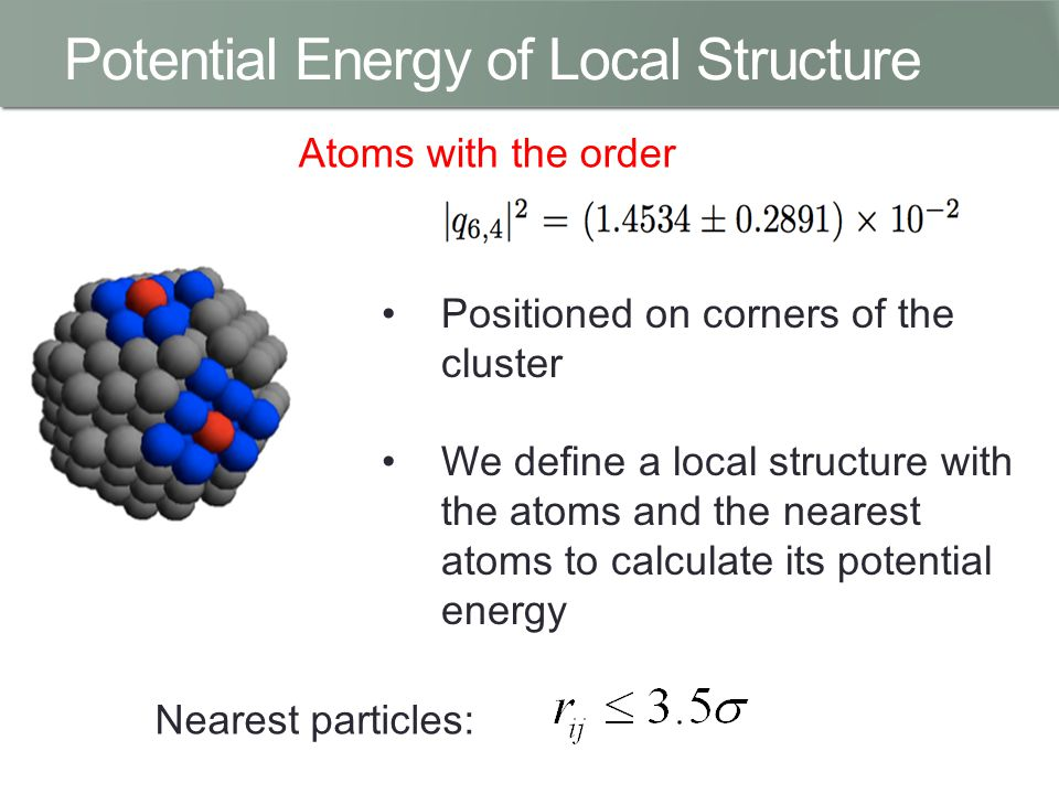 Potential Energy of Local Structure Atoms with the order Positioned on corners of the cluster We define a local structure with the atoms and the nearest atoms to calculate its potential energy Nearest particles: