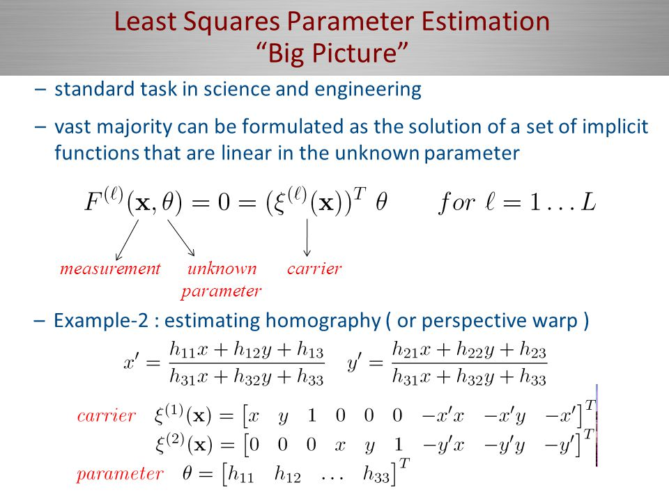 Least Squares Parameter Estimation Big Picture –standard task in science and engineering –vast majority can be formulated as the solution of a set of implicit functions that are linear in the unknown parameter measurementunknown parameter carrier –Example-1 : conic fitting–Example-2 : estimating homography ( or perspective warp ) –useful for cerating panaromas –Example-2 : estimating homography ( or perspective warp )
