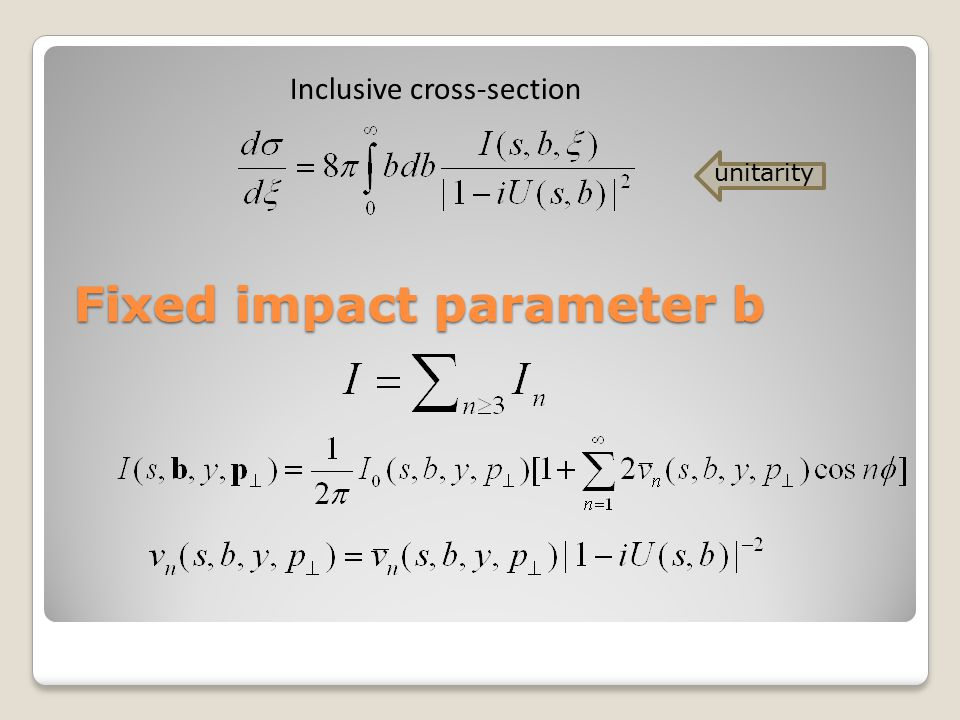 Fixed impact parameter b Inclusive cross-section unitarity