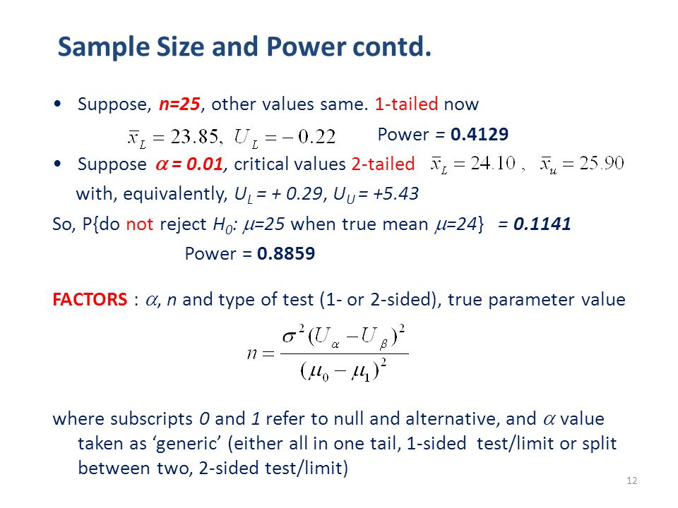 12 Sample Size and Power contd. Suppose, n=25, other values same.