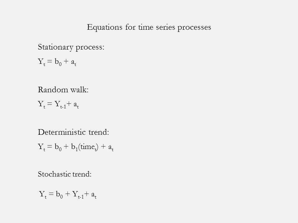 Equations for time series processes Stationary process: Y t = b 0 + a t Random walk: Y t = Y t-1 + a t Deterministic trend: Y t = b 0 + b 1 (time t ) + a t Stochastic trend: Y t = b 0 + Y t-1 + a t