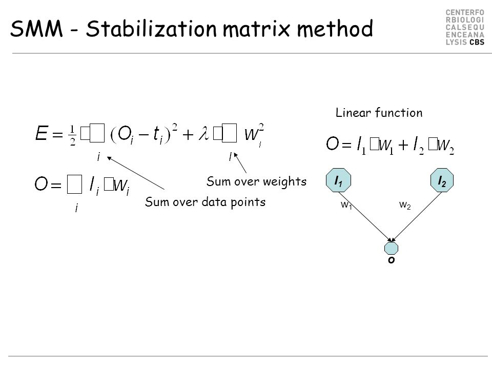 SMM - Stabilization matrix method I1I1 I2I2 w1w1 w2w2 Linear function o Per target error: Global error: Sum over weights Sum over data points