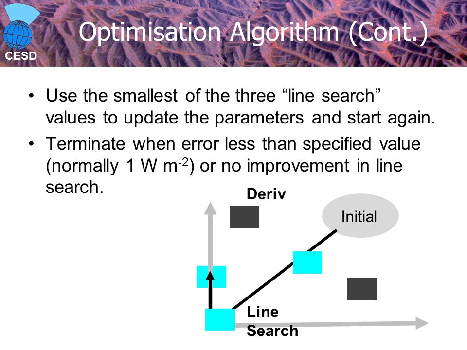 CESD Optimisation Algorithm (Cont.) Use the smallest of the three line search values to update the parameters and start again.