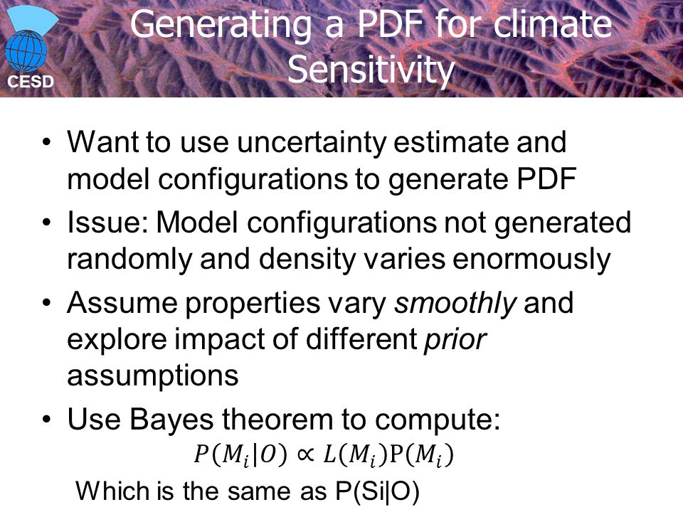 CESD Generating a PDF for climate Sensitivity
