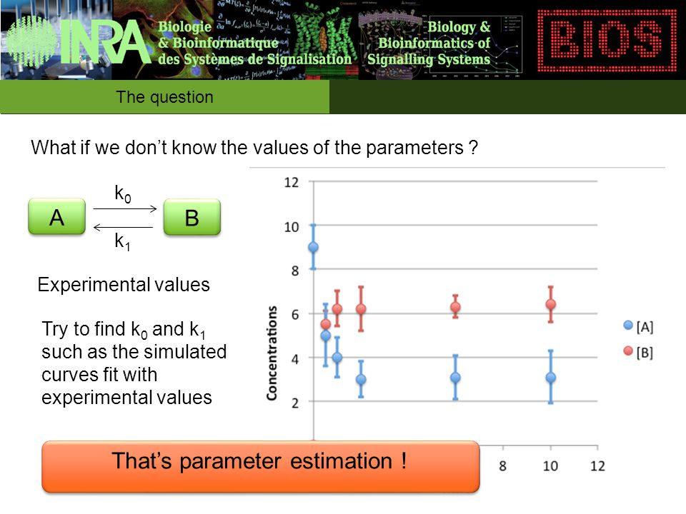 The question A A B B k0k0 k1k1 What if we don't know the values of the parameters .