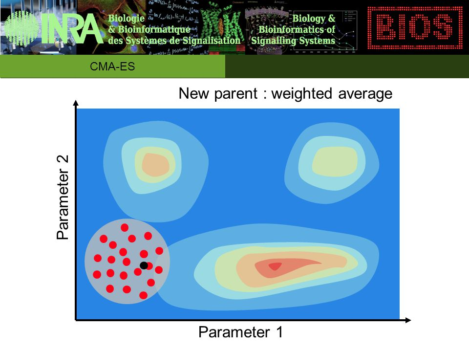 New parent : weighted average Parameter 1 Parameter 2 CMA-ES