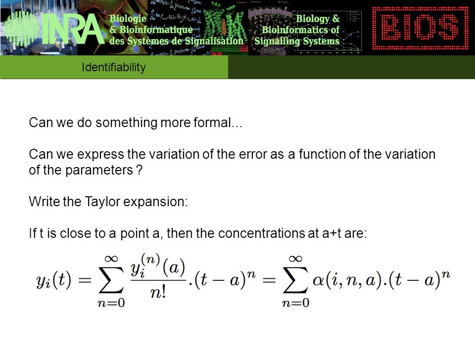 Identifiability Can we do something more formal... Can we express the variation of the error as a function of the variation of the parameters ? Write