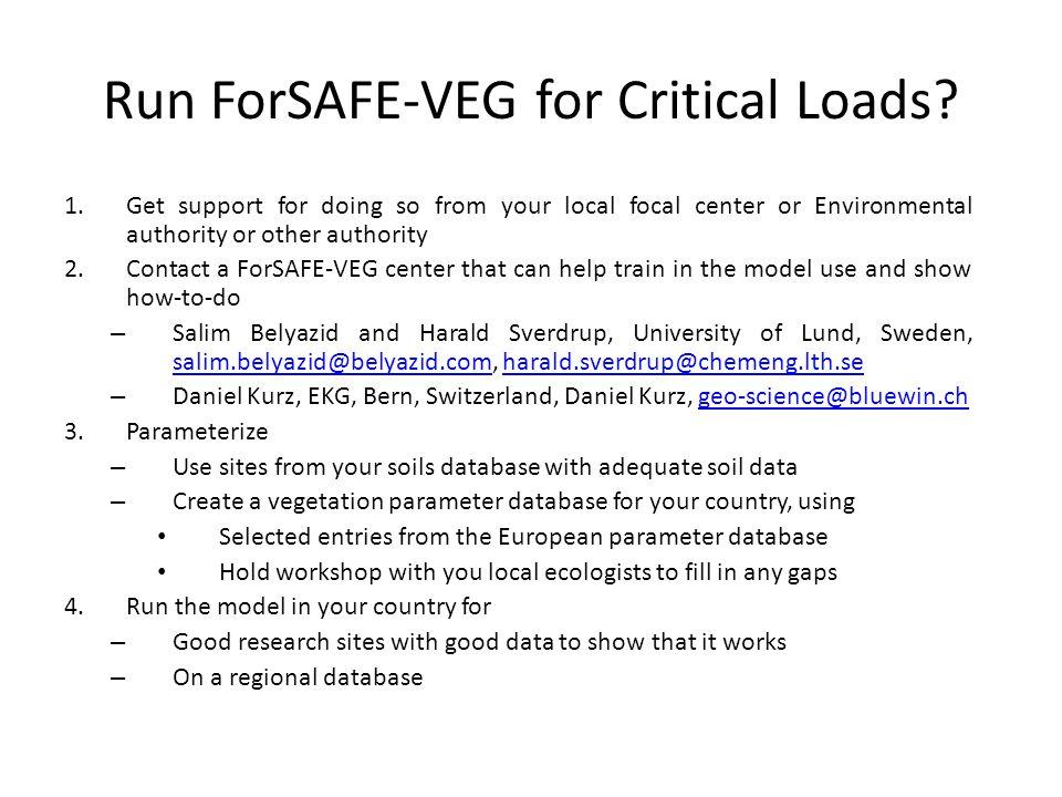 Run ForSAFE-VEG for Critical Loads.