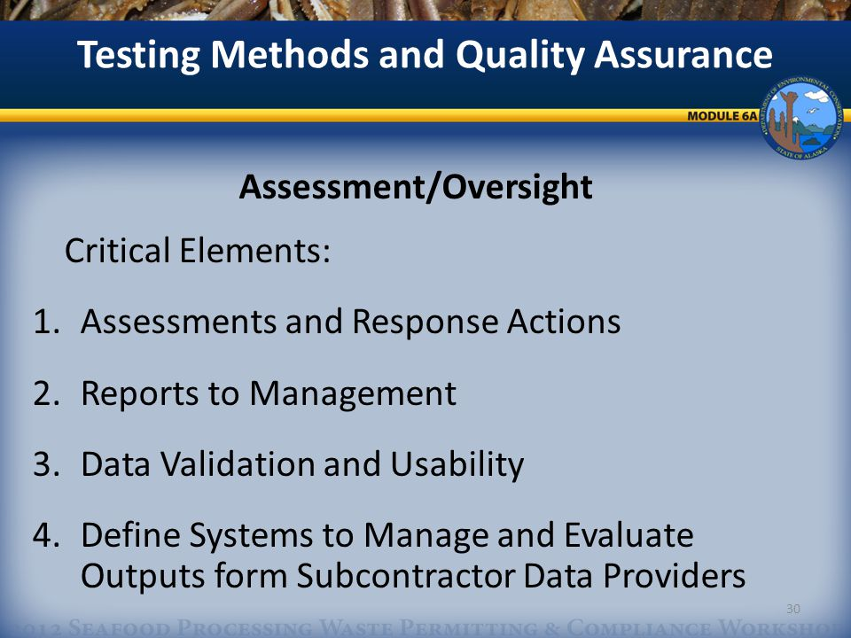Assessment/Oversight Critical Elements: 1.Assessments and Response Actions 2.Reports to Management 3.Data Validation and Usability 4.Define Systems to Manage and Evaluate Outputs form Subcontractor Data Providers Testing Methods and Quality Assurance 30