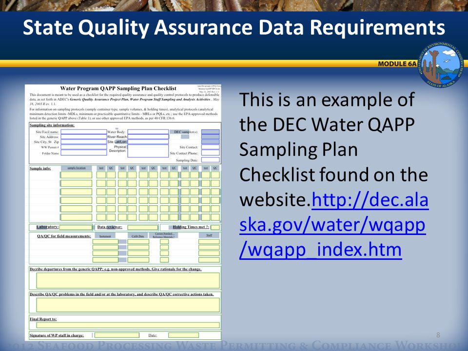Implementation of a Quality Assurance Project Plan: Measurement and Data Acquisition A.