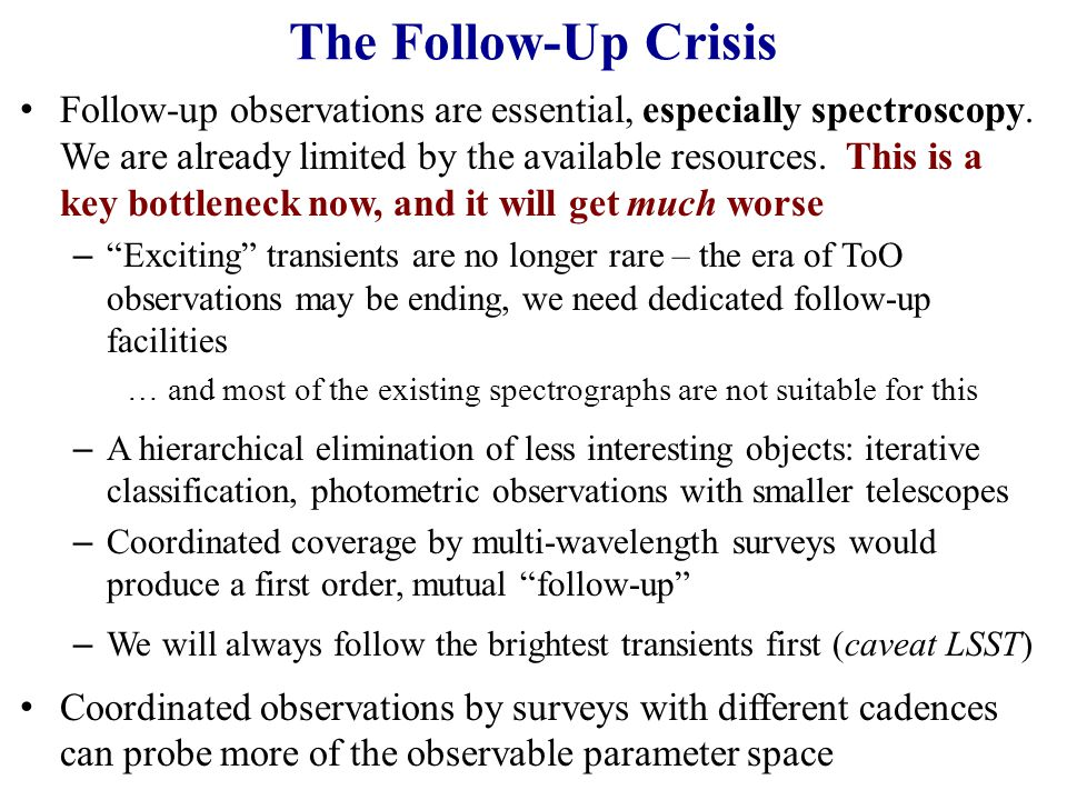 The Follow-Up Crisis Follow-up observations are essential, especially spectroscopy.