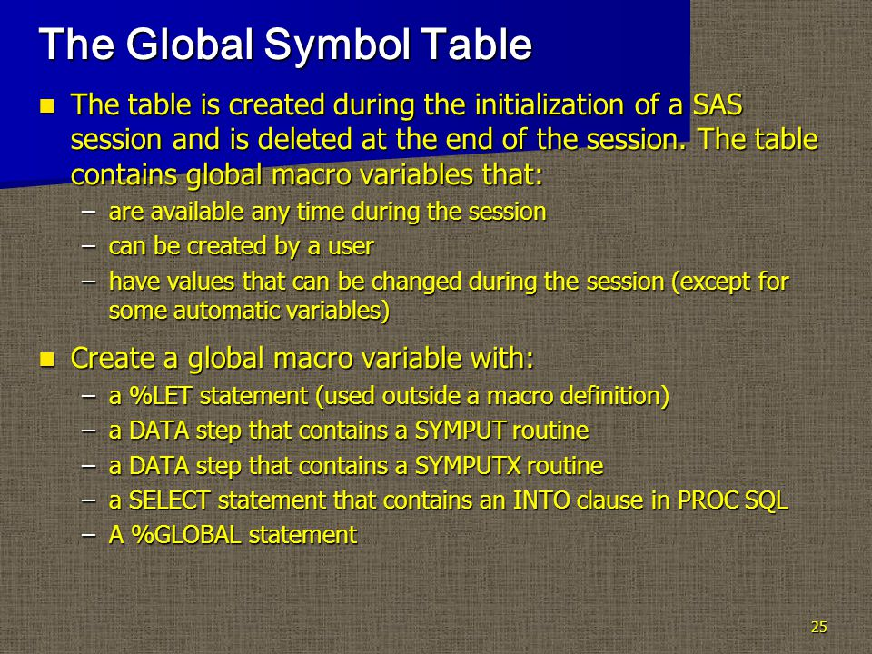 25 The Global Symbol Table The table is created during the initialization of a SAS session and is deleted at the end of the session.