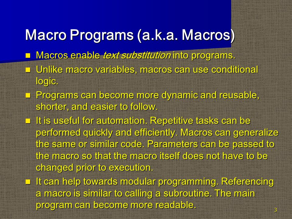 24 Syntax for Macros That Include the PARMBUFF Option %MACRO macro-name /PARMBUFF; text %MEND macro-name; PARMBUFF option creates an automatic macro variable SYSPBUFF to define a macro that accepts a varying number of parameters each time you call it.