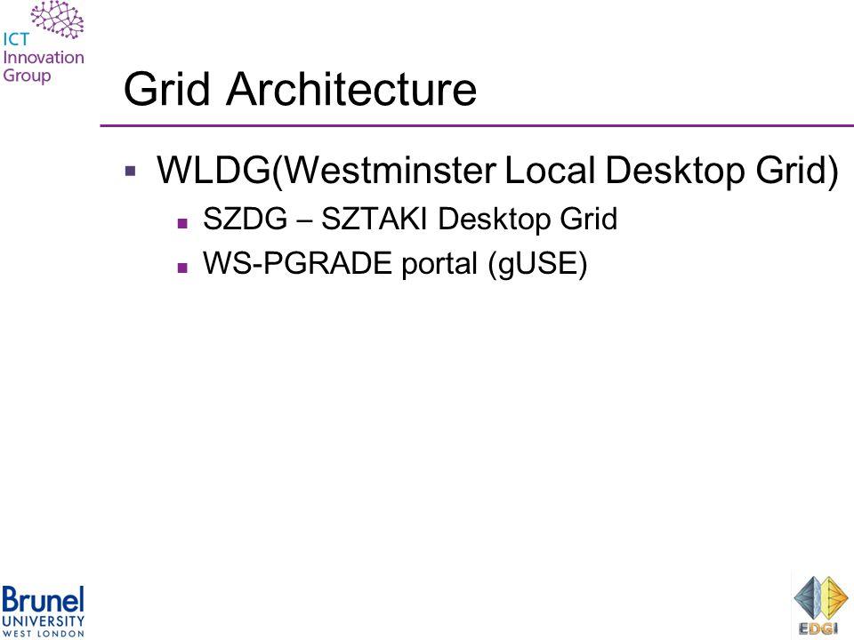 Grid Architecture  WLDG(Westminster Local Desktop Grid) SZDG – SZTAKI Desktop Grid WS-PGRADE portal (gUSE)
