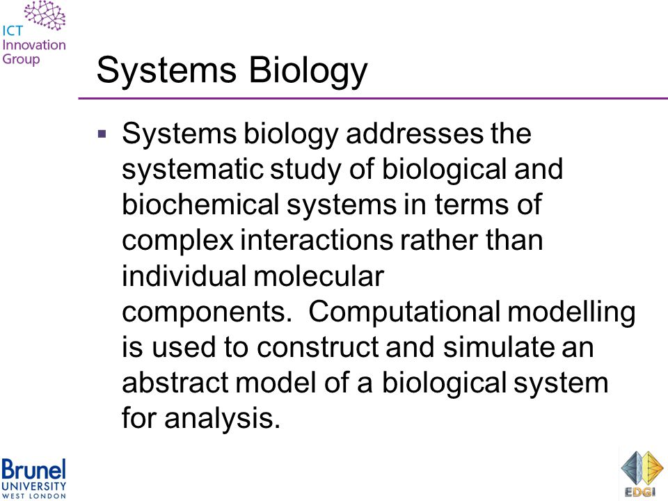 Systems Biology  Systems biology addresses the systematic study of biological and biochemical systems in terms of complex interactions rather than individual molecular components.