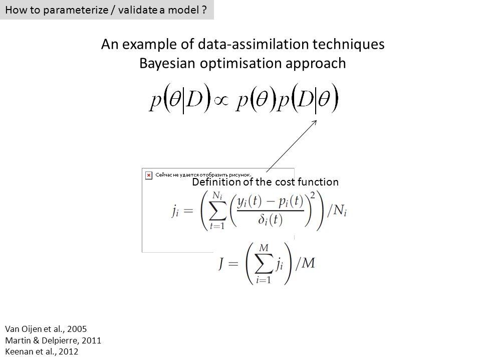 How to parameterize / validate a model ? Definition of the cost function Van Oijen et al., 2005 Martin & Delpierre, 2011 Keenan et al., 2012 An exampl