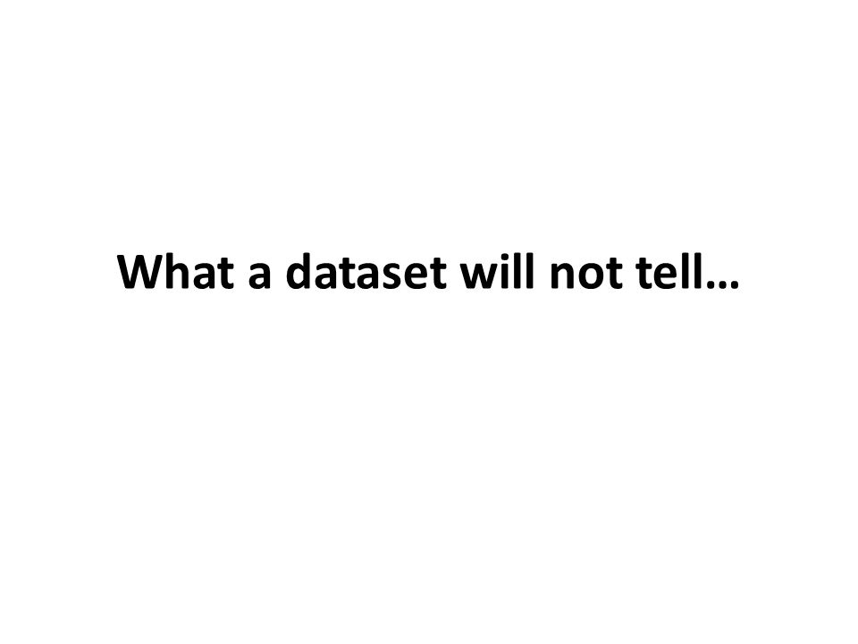 What a dataset will not tell…