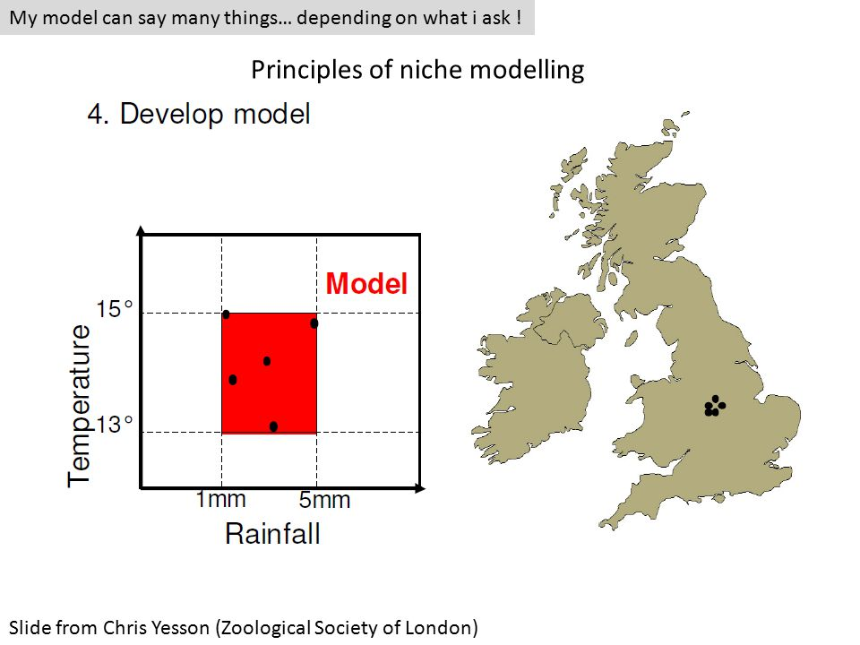 Slide from Chris Yesson (Zoological Society of London) My model can say many things… depending on what i ask .