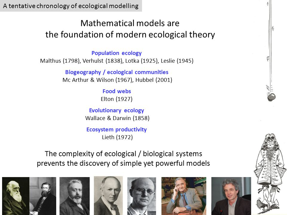 A tentative chronology of ecological modelling Mathematical models are the foundation of modern ecological theory Population ecology Malthus (1798), V