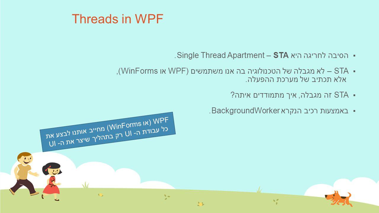 Threads in WPF  הסיבה לחריגה היא STA – Single Thread Apartment.