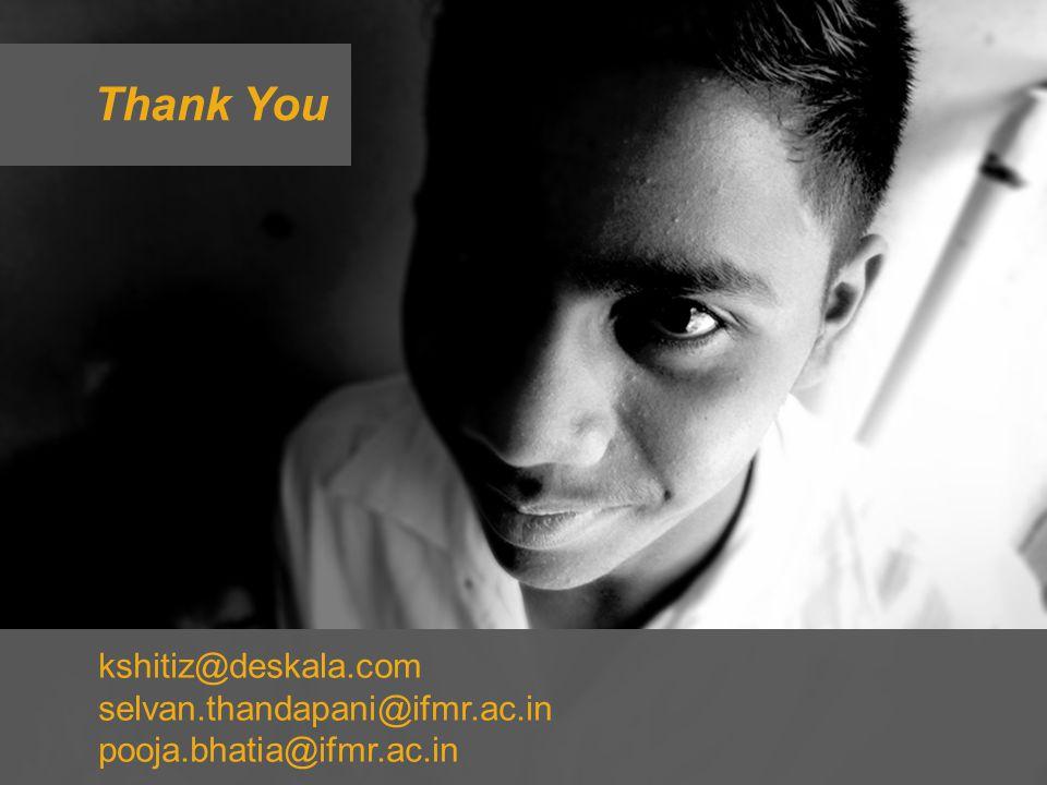 kshitiz@deskala.com selvan.thandapani@ifmr.ac.in pooja.bhatia@ifmr.ac.in Thank You