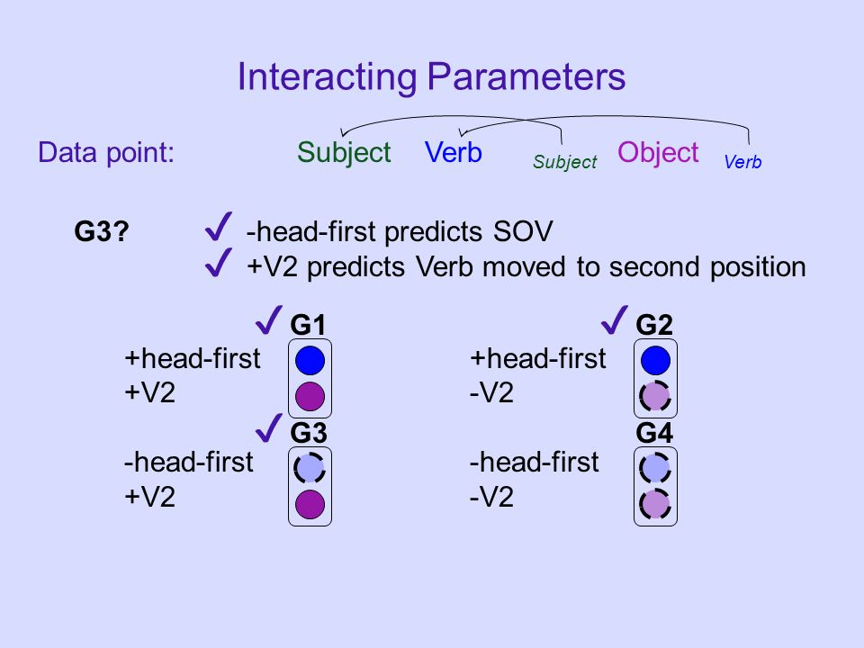 Data point: Subject Verb Subject Object Verb Interacting Parameters +head-first +V2-V2-head-first G1G2 G3G4 G3.