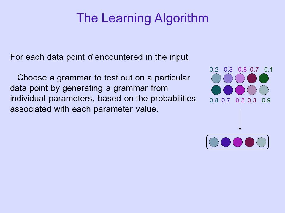 For each data point d encountered in the input Choose a grammar to test out on a particular data point by generating a grammar from individual parameters, based on the probabilities associated with each parameter value.