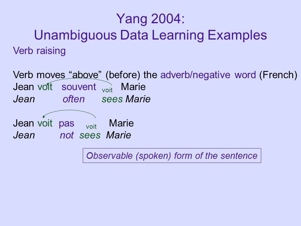 Yang 2004: Unambiguous Data Learning Examples Observable (spoken) form of the sentence Verb raising Verb moves above (before) the adverb/negative word (French) Jean voit souvent voit Marie Jean often sees Marie Jean voit pas voit Marie Jean not sees Marie
