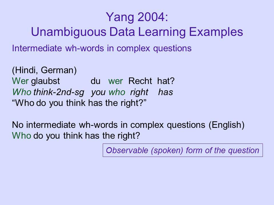 Intermediate wh-words in complex questions (Hindi, German) Wer glaubst du wer Recht hat.