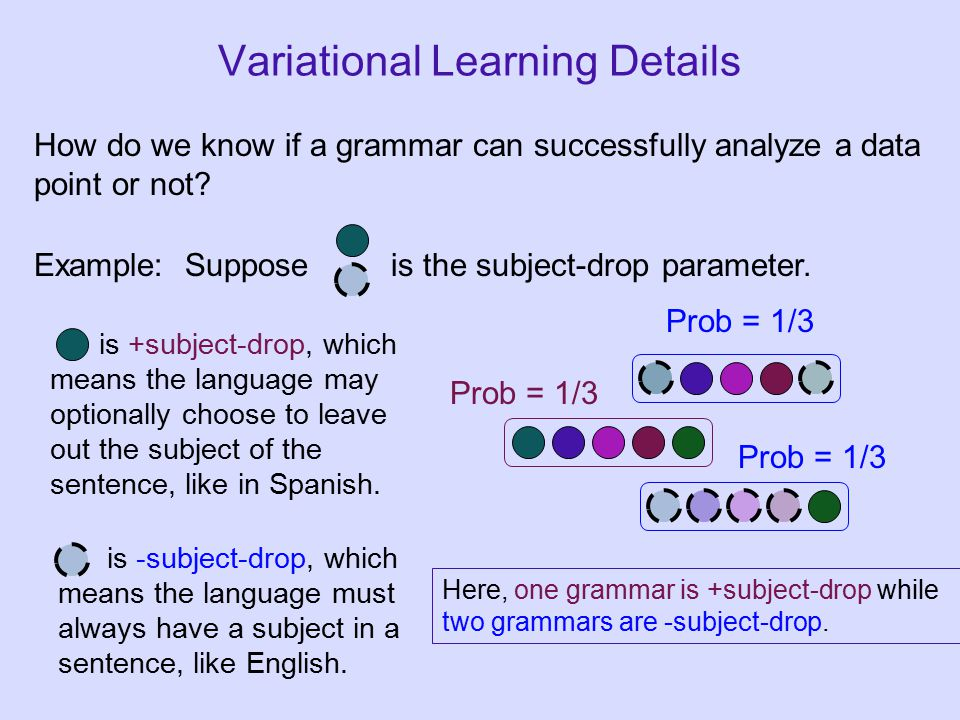 Variational Learning Details How do we know if a grammar can successfully analyze a data point or not.
