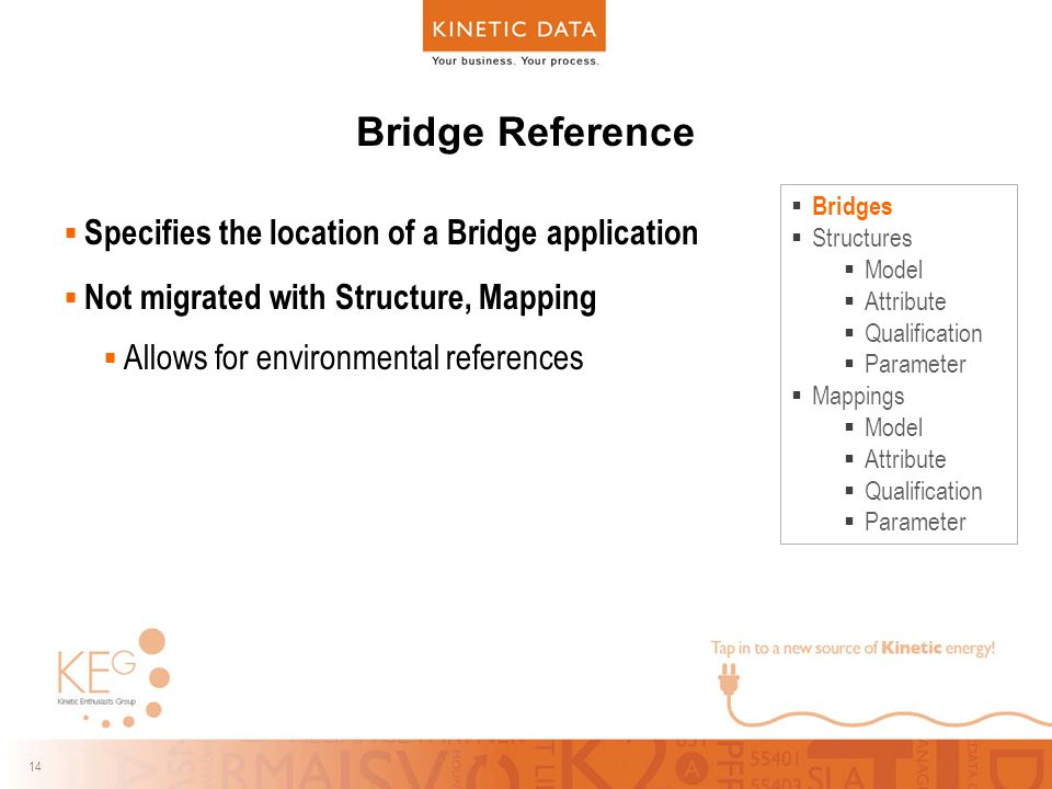 14 Bridge Reference  Specifies the location of a Bridge application  Not migrated with Structure, Mapping  Allows for environmental references  Bridges  Structures  Model  Attribute  Qualification  Parameter  Mappings  Model  Attribute  Qualification  Parameter