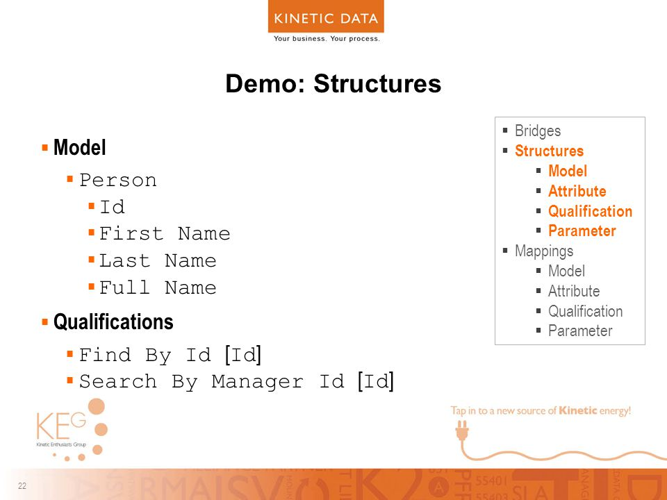 22 Demo: Structures  Model  Person  Id  First Name  Last Name  Full Name  Qualifications  Find By Id [ Id ]  Search By Manager Id [ Id ]  Bridges  Structures  Model  Attribute  Qualification  Parameter  Mappings  Model  Attribute  Qualification  Parameter