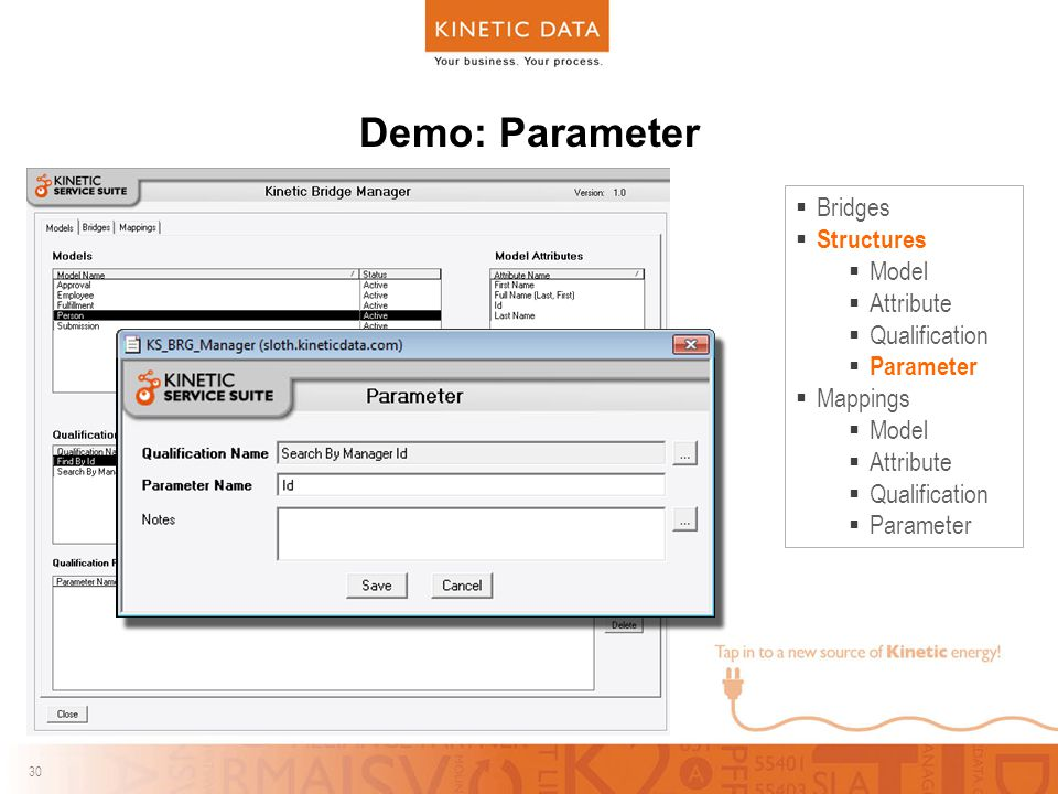 30 Demo: Parameter  Bridges  Structures  Model  Attribute  Qualification  Parameter  Mappings  Model  Attribute  Qualification  Parameter